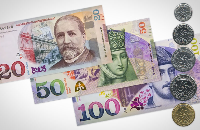 Georgian money: Lari banknotes and Lari/Tetri coins